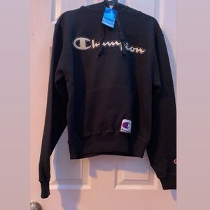 Champion black hoodie with white letters